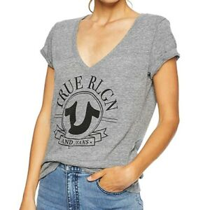 True-Religion-Women-039-s-Sparkly-Big-Horseshoe-V-Neck-Tee-T-Shirt-in-Heather-Grey