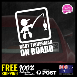 Baby-Fisherman-On-Board-Sticker-Decal-152x110mm-Funny-Baby-Boy-Girl-4x4-Tackle