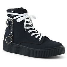 Demonia SNEEKER-201 Men/'s Black Canvas Round Toe Lace Up Front Creepers Sneakers
