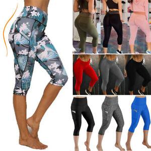 Womens-Sports-YOGA-Pants-Capri-Leggings-Pockets-Workout-Gym-Fitness-High-Waist
