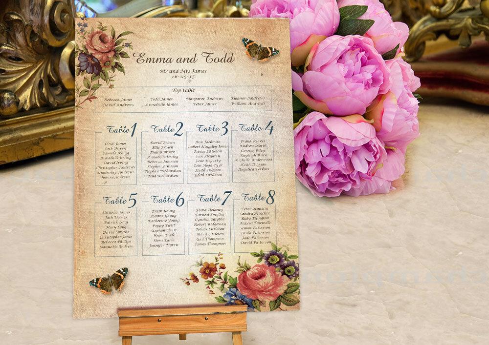 Personalised Victoriana Design Wedding Seating Table PlanCanvasBoardPaper