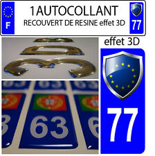 1 sticker targa auto TUNING 3D RESINA STEMMA EUROPA DIPARTIMENTO 77