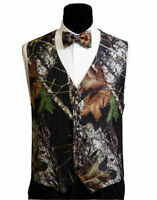 Mens Mossy Oak Tuxedo Suit Adj. Vest Camo Bow Tie Camouflage Hankie Real Pockets