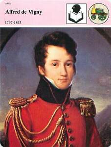 FICHE-CARD-Alfred-de-Vigny-1797-1863-ecrivain-romancier-poete-France-90s