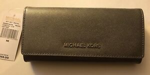 b494f39f1a1f NWT Michael Kors Jet Set Travel Carryall Letters Flap Wallet Leather ...