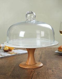 Tortenplatte-mit-Glashaube-auf-Fuss-Bambusholz-Weiss-Porzellan-Deckel-Glas-26-cm