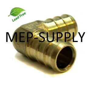 1-034-PEX-Elbow-Brass-1-inch-90-Crimp-Fitting-LEAD-FREE-LOT-OF-10