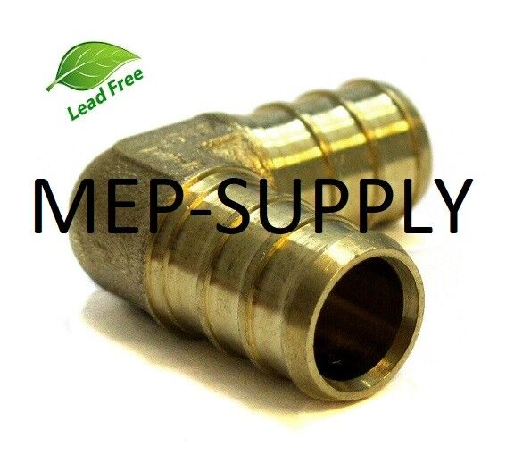 """25 3//4 in. BRASS BARBED CRIMP FITTINGS LEAD-FREE 3//4/"""" PEX 90° ELBOW Lot of"""