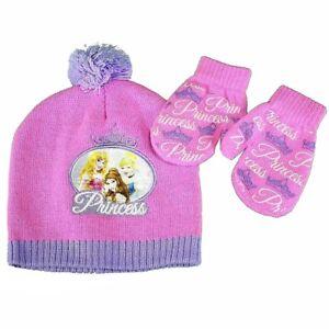 Disney-Princess-Toddler-Girl-039-s-Pink-Hat-amp-Mittens-Set-Sz-2-4
