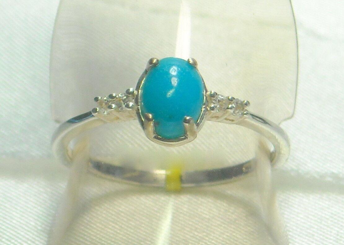 .81 ct Natural Turquoise & Topaz Ring Platinum .925 Size 8