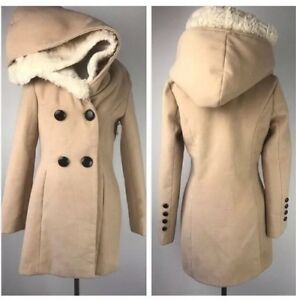 Max-Mara-Vintage-Removable-fur-Hood-Coat-4-Small-Camel-Beige-Jacket-Button-RARE