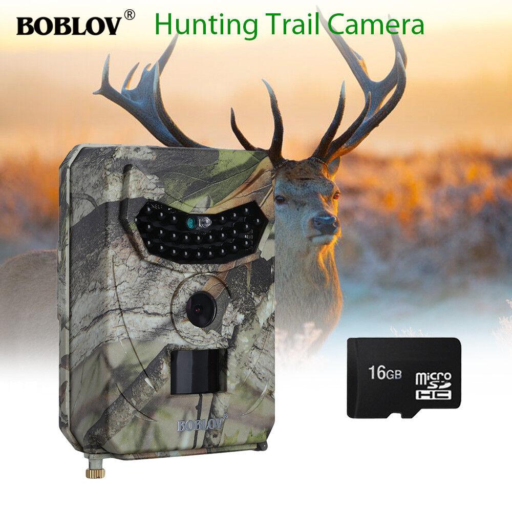 BOBLOV PR-100 12MP 1080P HD IR Hunting Camera IP56+16GB TF Game+Mounting Strap