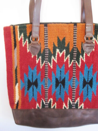 color Southwestern Handwoven Leather Artisan Burgundy Tote Bag Faux Multi Wool eWEoxBQrdC