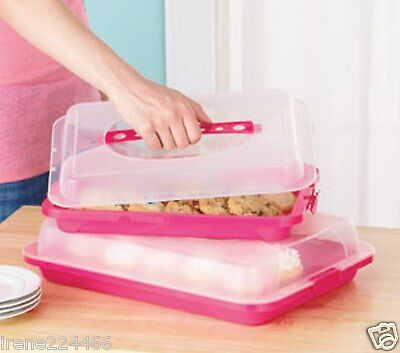 Set/2 Picnic Food Storage Containers w/Locking Lid & Handle Eggs Cupcakes GREEN