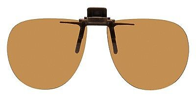 Clip on Sunglasses 58mm Wide X 52mm High - Polarized Brown Lenses 134mm Wide