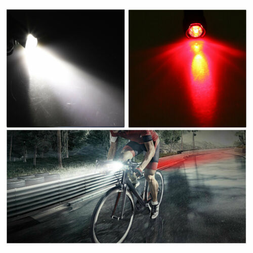 Bicycle Bike LED Front /& Rear Headlight USB Rechargeable Cycling Light Lamp Kits