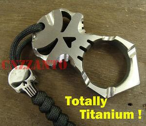 lanyard bead Titanium Skull shaped EDC pendant pocket survival escape tool