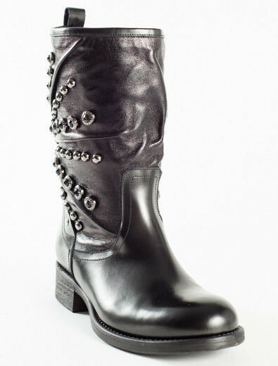 New Femme Black Leather Made in  Booties Size 37 US 7