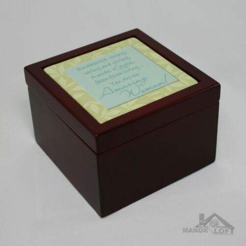 "Abbey Press /""Amazing Woman/"" Wood Trinket Box with Ceramic Inset"