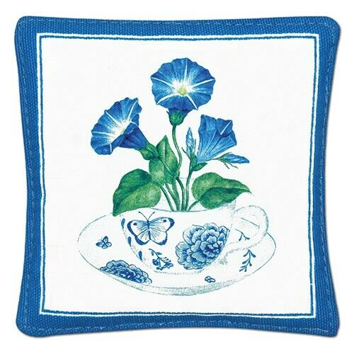 Alice/'s Cottage Cotton Scented Spiced Mug Mat Coaster Blue Teacup Morning Glory