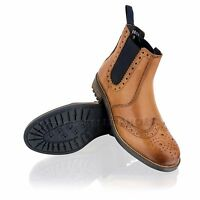 Mens Leather Brogue Casual Smart Chelsea Dealer Ankle Tan Boots Shoes Size