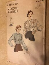 """40s 50s  Vintage VOGUE Sewing Pattern BLOUSE 6389 Size 18 Bust 36"""""""