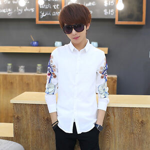 Fashion-Men-039-s-Shirts-Slim-Fit-Long-Sleeve-Shirts-Print-Cotton-Casual-Shirts-Tops