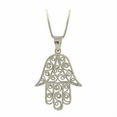 925 Sterling Silver Filigree Design Hamsa Hand Necklace