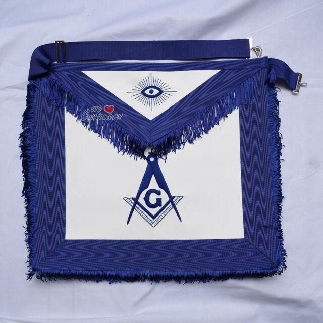 Masonic Blue Lodge Master Mason Apron Regalia Blue Silk Fringes - WLC