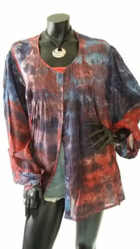 Vintage Indie Tie Dye Oversize Embroidered Blouse Shirt TOP Hippy Boho 14 16 18