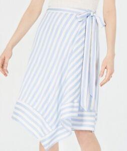 Lucy Paris Womens Teagan Midi Skirt Blue Size XL Striped Asymmetrical $79- 597