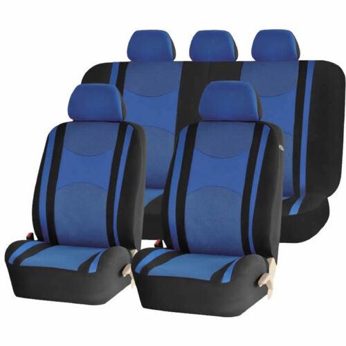 BLUE /& BK HONEYCOMB SPLIT BENCH SEAT COVERS 6PC SET FOR TRUCKS 1149