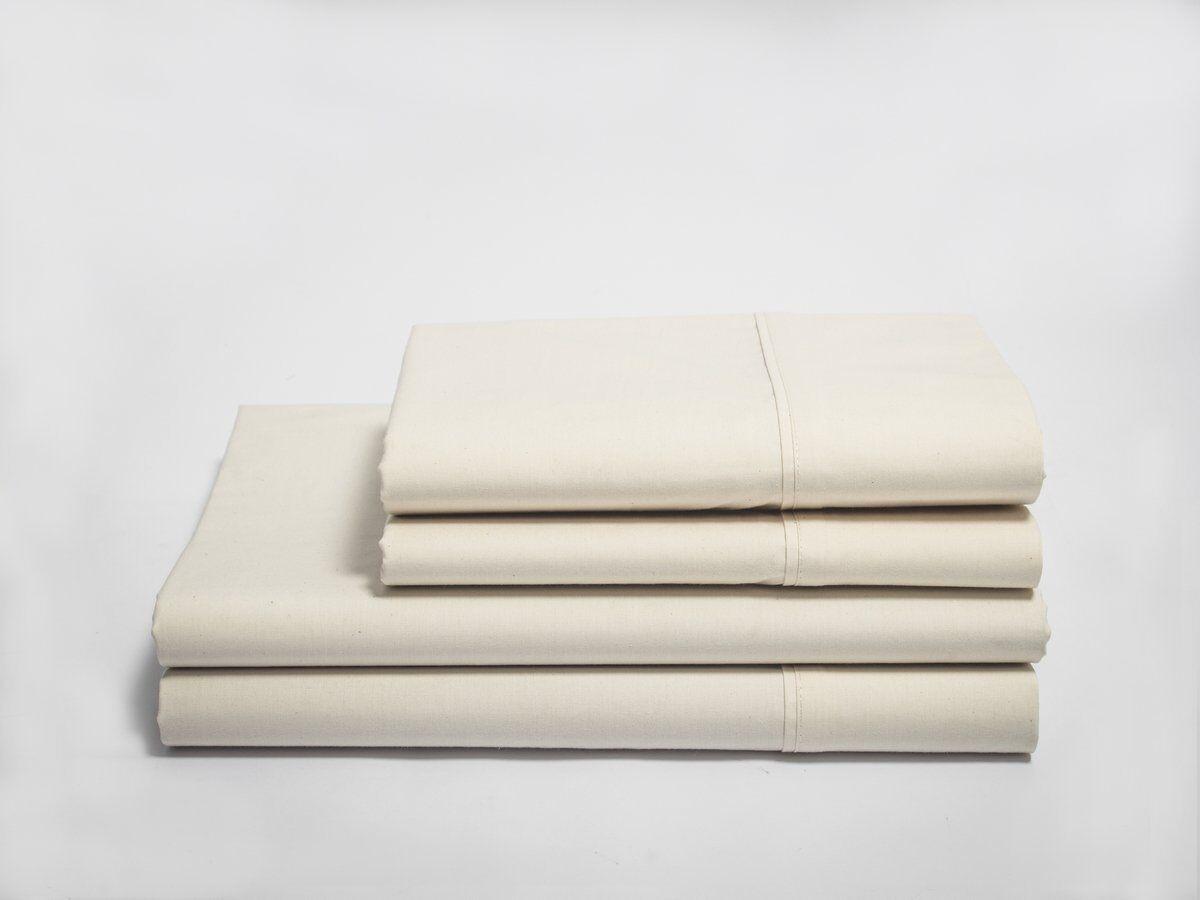 NatureSoft Organic Cotton 280 TC Sateen Sheet Sets - Queen - Natural