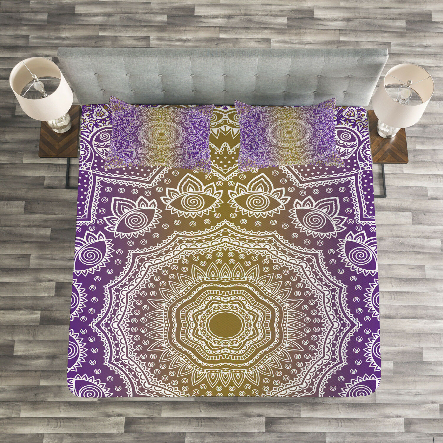 Yellow and Purple Quilted Bedspread & Pillow Shams Set, Mandala Ombre Print