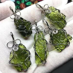 Green-Moldavite-Quartz-Pendant-Crystal-Gemstone-Specimen-Healing-20g-1PC