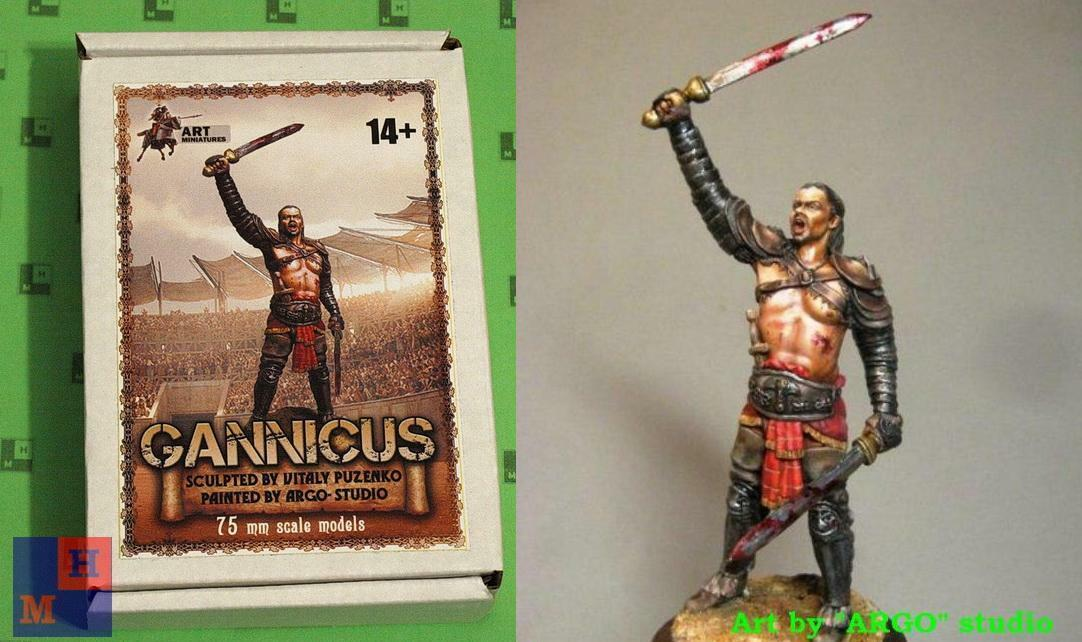 1 24.  Gannicus , white metal figure kit, by  Art Miniatures