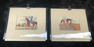 Set-of-Two-Thun-Povi-United-States-1928-Navajo-1950-039-s-Silkscreen-Prints