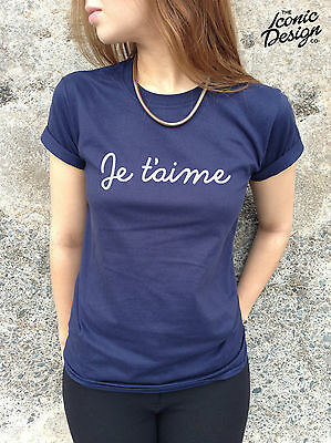 * Je T'aime T-shirt Top French France Paris Vogue Slogan Tumblr Cute I Love You*