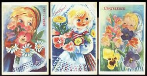 Congratulations-lot-of-3-unused-Norwegian-Greeting-Vintage-Postcards-pc349