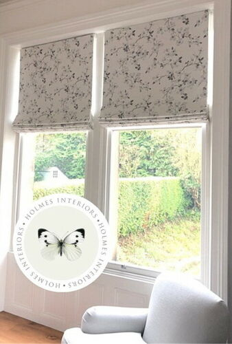 Roman blinds made up with Laura Ashley Pussy Willow Steel fabric