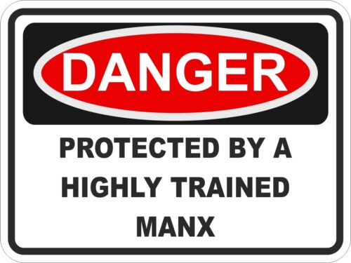 Cat Breed MANX Danger Sticker Pet for Bumper Locker Car Door