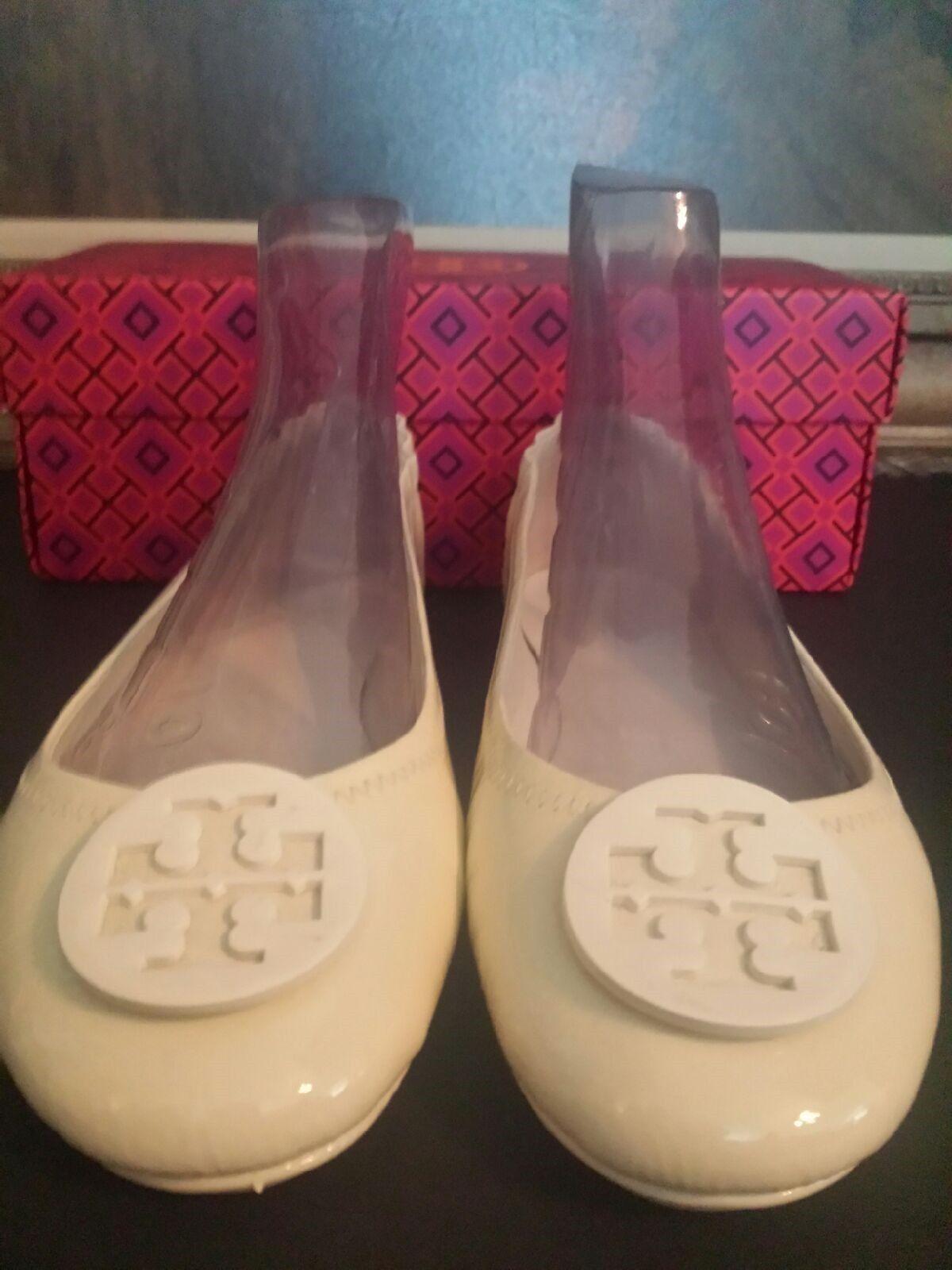 Tory Burch White Leather Slip Slip Slip On Ballet Flats Women's Size 10 Medium 5c93bd