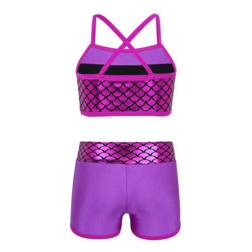 Girl Kid Ballet Gymnastics Dance Dress Shiny Jazz Sport Camisole Crop Top+Shorts