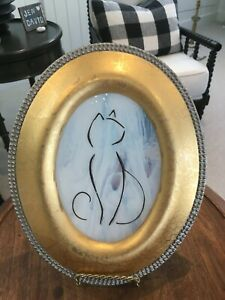 Stained Glass Sun Catcher Cat with Attitude on Wispy White in Gold Frame
