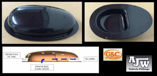 2 x Roof Scoop BLACK Vent Duct Type Ventilator Plastic Van Bus Caravan Motorhome