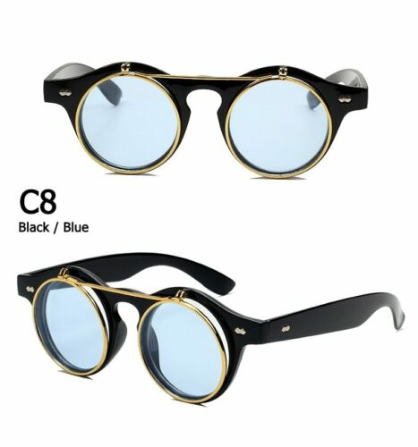 Vintage Fashion Round SteamPunk Flip Up Sunglasses Classic Double Layer Flip Up