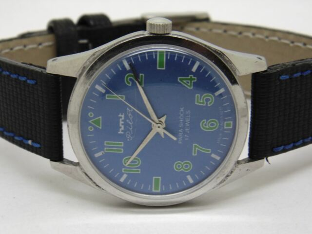 Hmt Pilot Hand Winding Mens Steel Vintage ParaShock Wrist Watch Run Order