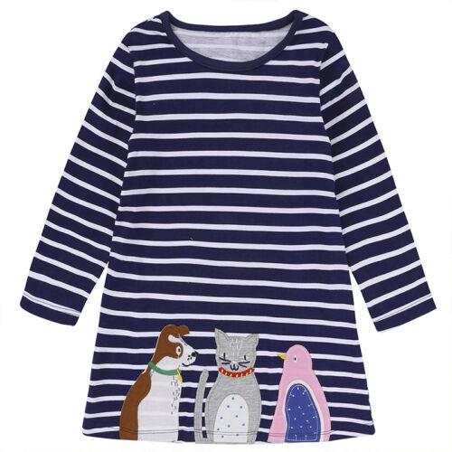 Mädchen Kinder Tier Tunika Kleider Langarm Gestreift Oberteile Lang T Shirt Tops