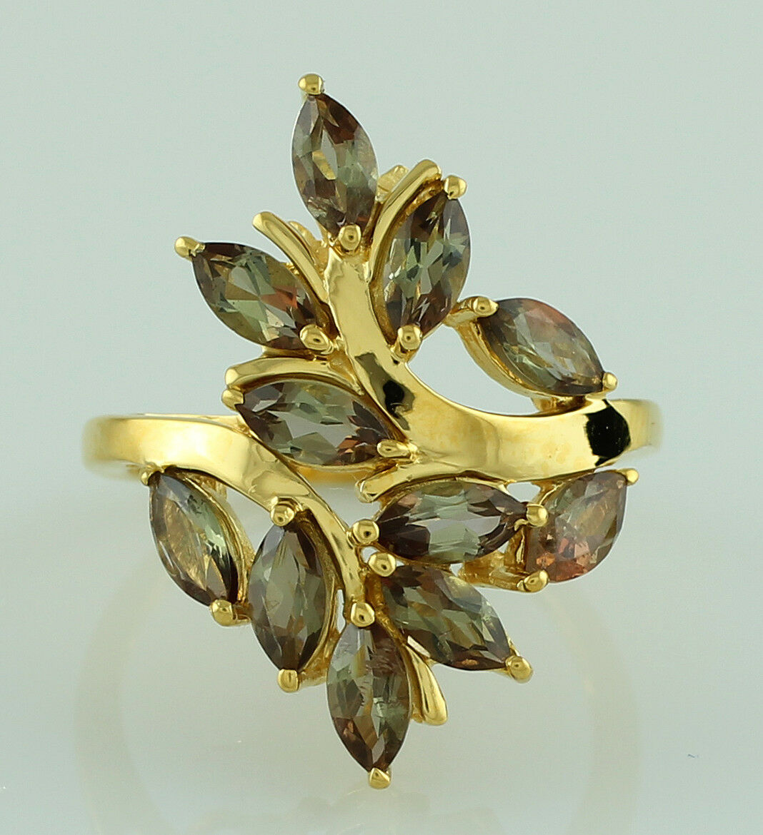Andalusite 2.90 Ct. Natural Gemstone Cluster Ring Solid gold Authentic Jewelry