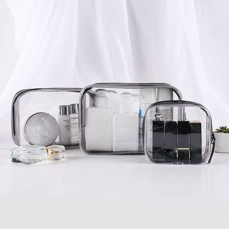 Set of 4PCS Cosmetic Makeup Toiletry Clear PVC Travel Wash Bag Holder ... - s l1600